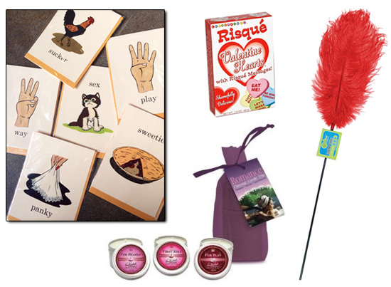 Unusual Occasion cards, candy hearts, massage candles, feather tickler